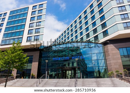 DUSSELDORF, GERMANY - JUNE 05, 2015: Maritim hotel in Dusseldorf airport. Maritim Hotelgroup is the largest German hotel chain. In Germany, the company operates 36 hotels