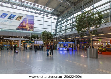 Dusseldorf, Germany, on July 13, 2014. Hall of a departure of the airport Dusseldorf International