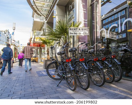 Dusseldorf, Germany, on July 7, 2014. Point of hire of bicycles on the city street