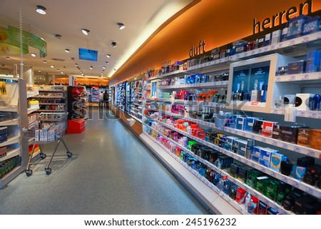 DUSSELDORF, GERMANY - SEP 16: cosmetics shop interior on September 16, 2014. Dusseldorf is the capital of the German state of North Rhine-Westphalia and centre of the Rhine-Ruhr metropolitan region - stock photo