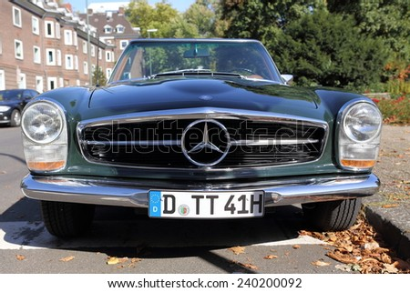 DUSSELDORF, GERMANY - SEPTEMBER 30, 2012: A Mercedes-Benz SL Pagode (W113) with its avantgarde front grille and a license plate from Dusseldorf spotted on September 30, 2012 in Dusseldorf.