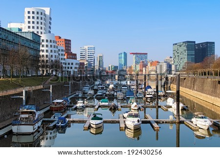Dusseldorf, Media Harbour with contemporary architecture, Germany - stock photo