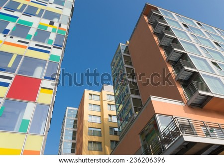 DUSSELDORF - SEPTEMBER 6, 2014: Modern office buildings in the media harbor. The Hafen district contains some spectacular post-modern architecture, but also some bars, restaurants and pubs - stock photo
