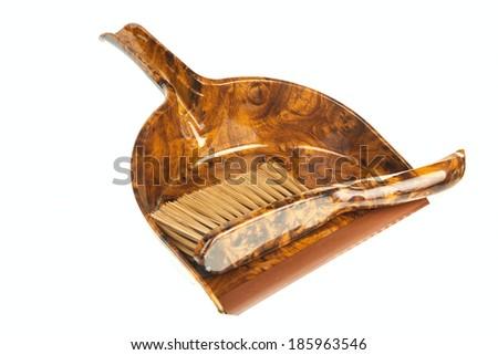 Dust brush and dustpan isolated on white background - stock photo