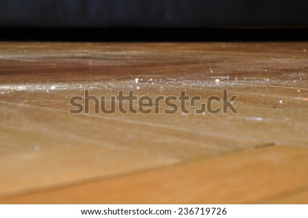Dust, dirty floor home, dusting - stock photo