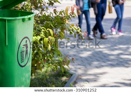 Dustbin in the park. Keep the city in clean. - stock photo