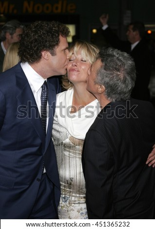 Dustin Hoffman, Will Ferrell and Emma Thompson at the Los Angeles premiere of 'Stranger Than Fiction' held at the Mann Village Theatre in Westwood, USA on October 30, 2006.  - stock photo