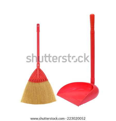 dustpan and broom for cleaning isolated on white