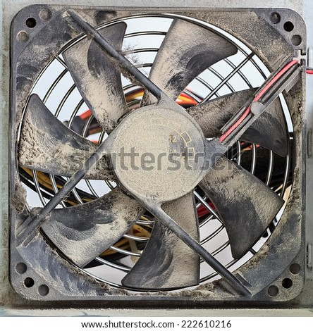 Dusty Ventilator Fan in Computer Power Supply, Closeup
