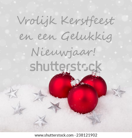 Dutch christmas card red christmas tree stock photo 238121902 dutch christmas card with red christmas tree balls and text merry christmas and a happy new m4hsunfo