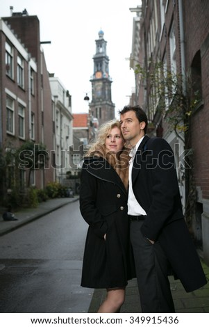 Dutch couple on the streets of Amsterdam