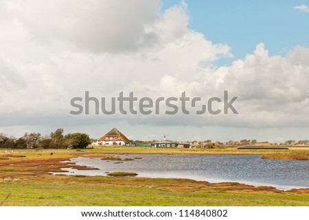 Dutch farmland with farm and stormy blue cloudy sky. Puddle in field of grass. Wadden island. Texel. The Netherlands. - stock photo