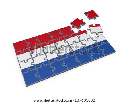 Dutch flag made of puzzles.Isolated on white background.3d rendered. - stock photo