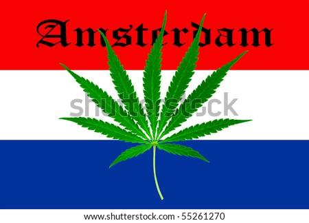 dutch flag with marijuana leaf amsterdam - stock photo