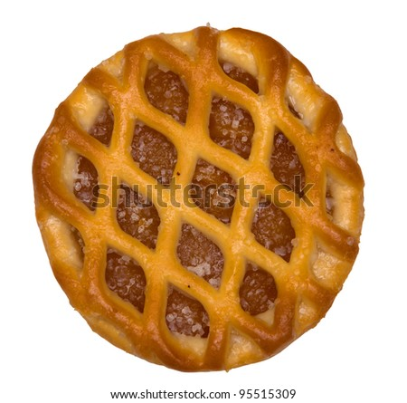 Dutch fruit pie, vlaai, isolated against background