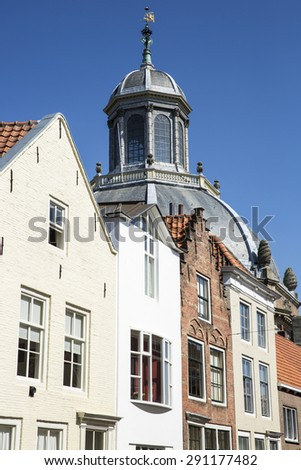 Dutch Gabble house and dome of a church - Oostkerk - Middelburg, The Netherlands
