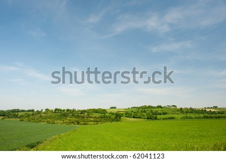 Dutch landscape in Limburg with hills and horizon - stock photo