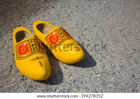 Dutch national shoes - cloggs.(clompes) - stock photo