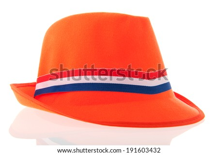 Dutch orange hat for soccer supporter of kings day - stock photo
