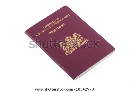 Dutch passport isolated on a white background.