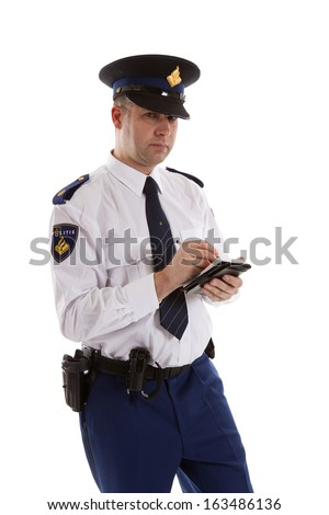 Dutch police officer filling out parking ticket. over white background