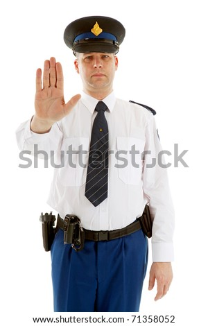 Dutch police officer making stop sign with hand over white background - stock photo