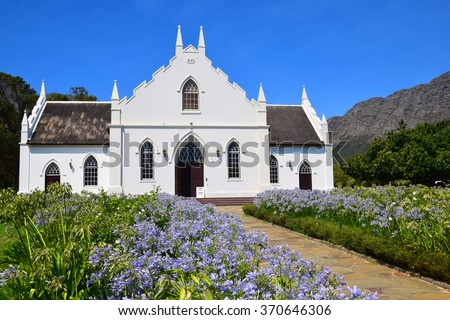 Dutch Reform Church in Franschhoek, South Africa - stock photo