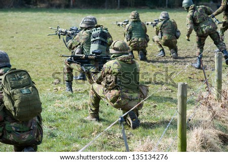 Dutch special forces during a training - stock photo