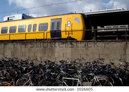 Dutch train leaving the central station Enschede