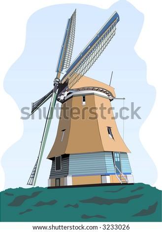 Dutch wind mill - stock photo