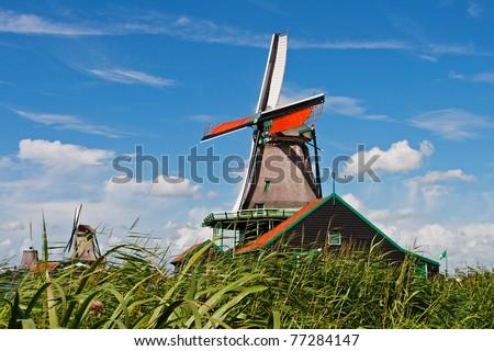 Dutch windmill in Zaanse Schans - stock photo
