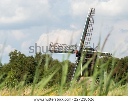 Dutch windmill pops out behind long strands of grass in Weerribben, Netherlands - stock photo
