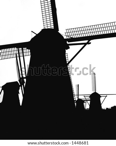 Dutch windmills in Kinderdijk 5 - stock photo