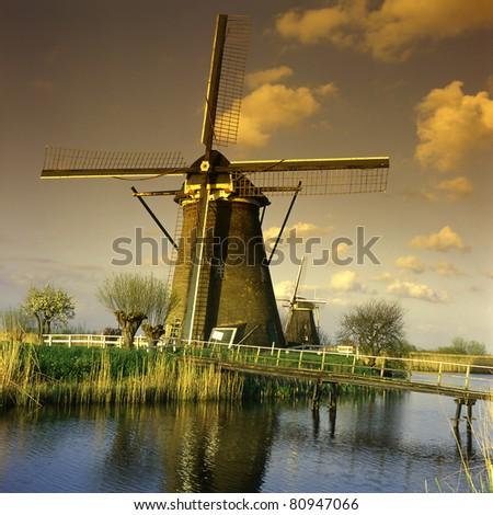 Dutch windmills of Kinderdijk, Holland, UNESCO World Heritage Site - stock photo