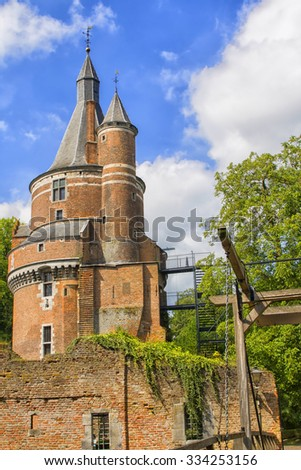 Duurstede castle in the Netherlands is a ruin of a 13th century castle.  - stock photo