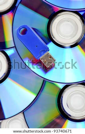 DVD and USB disk - stock photo