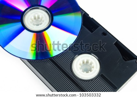 DVD and videotape - stock photo