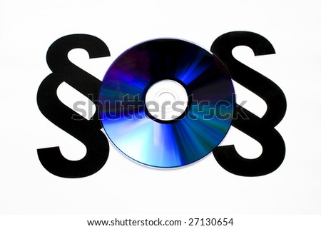 DVD between two paragraphs, concept of illegal copy - stock photo