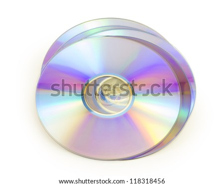 dvd disk isolated on white background - stock photo