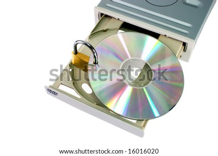 DVD drive with safety lock isolated on white background - stock photo