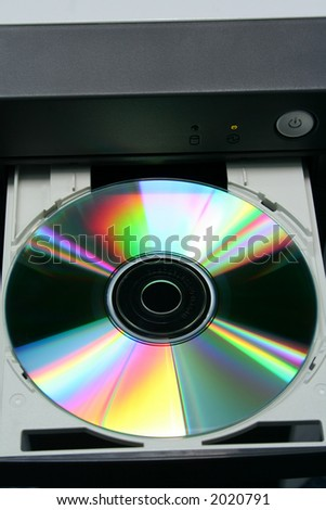 DVD in computer CD-ROM tray with power button