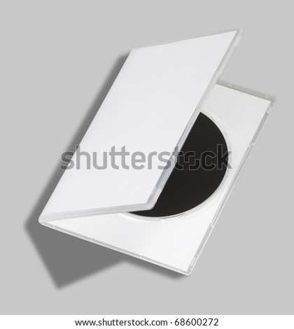 DVD or CD case open on white with a clipping path - stock photo