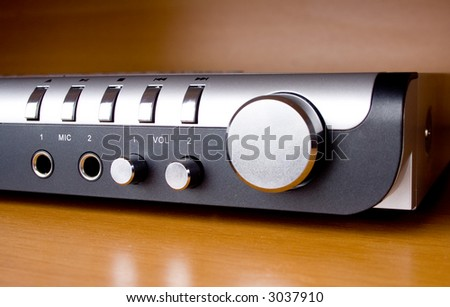 Dvd player on a wood background - stock photo