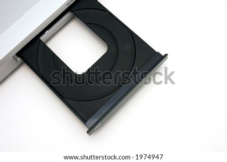 dvd player with open tray - stock photo