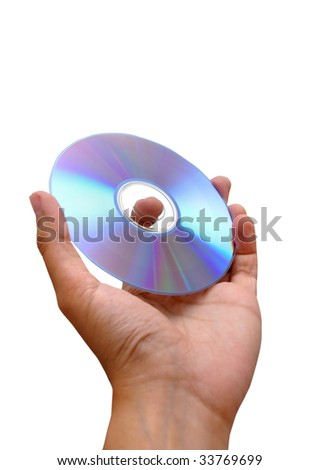 Dvd Rom on Hand - stock photo