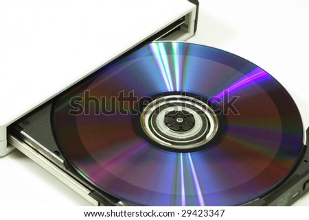 dvd-rom with a dvd in the tray