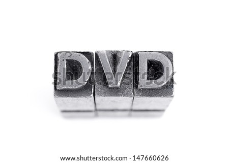Dvd sign,  antique metal letter-press type isolated
