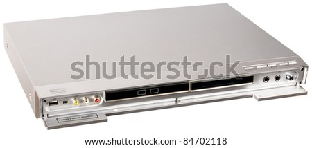DVD video player with open front cover isolated on the white - stock photo
