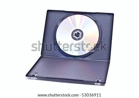 Dvd with opened case isolated on white