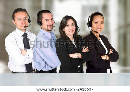 dverse business customer service team of  representatives in an office - stock photo